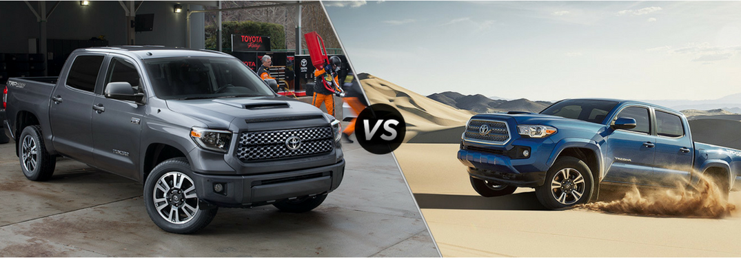 Toyota Tundra next to Toyota Tacoma in comparison image