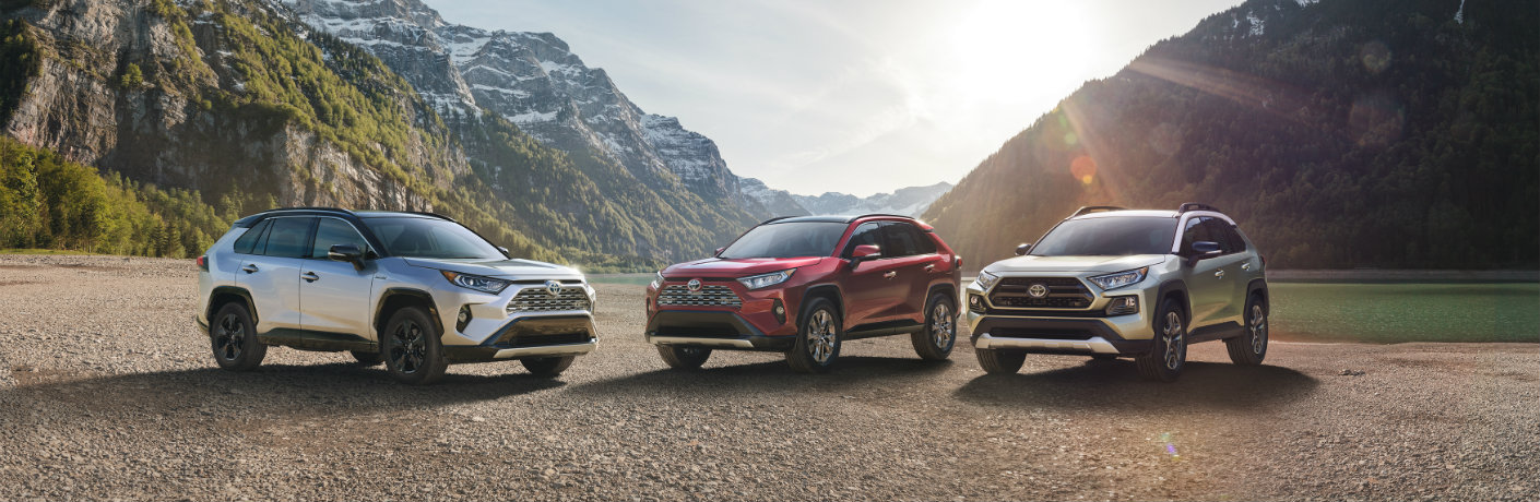 the 2019 toyota rav4 vehicles in front of mountains