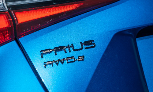 Rear namebadge of 2019 Toyota Prius AWD-e