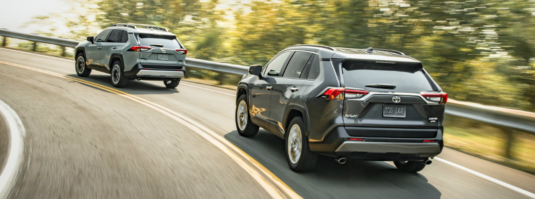 Rear shot of two 2019 Toyota RAV4 models driving on overpass