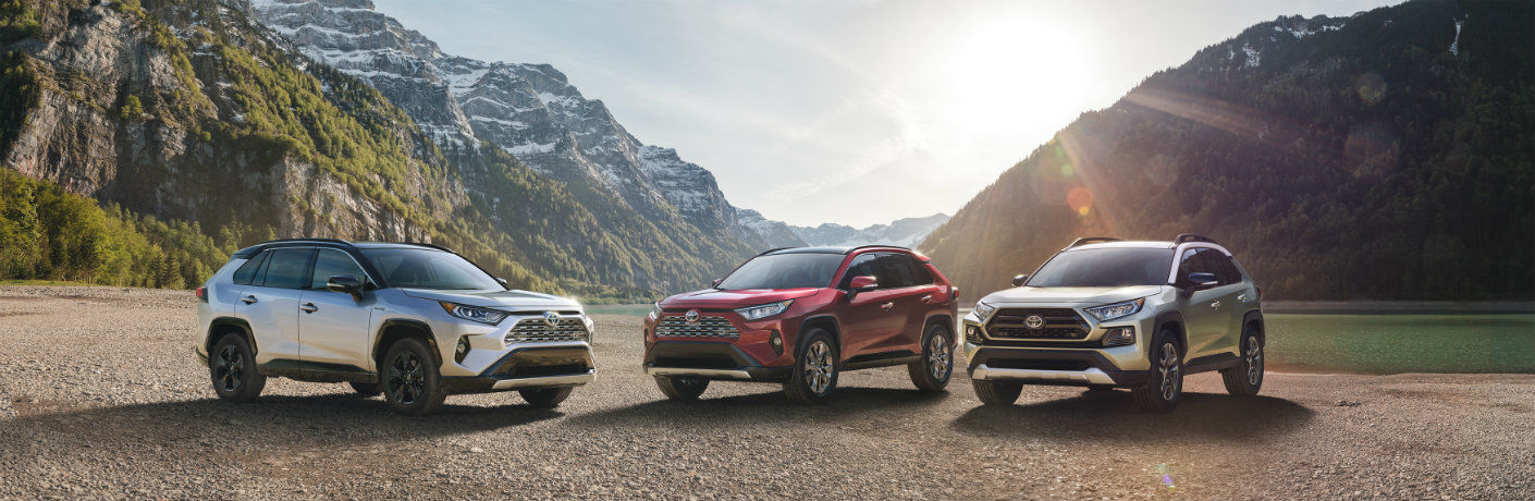 Three 2019 Toyota RAV4 models in front of mountainous backdrop