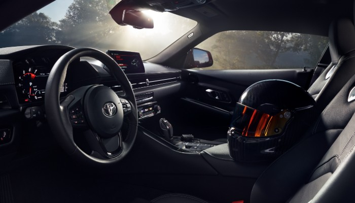 Front two seats and steering wheel of 2020 Toyota Supra