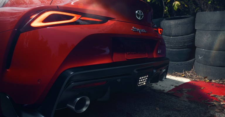 Rear name badge and taillights of 2020 Toyota Supra GR