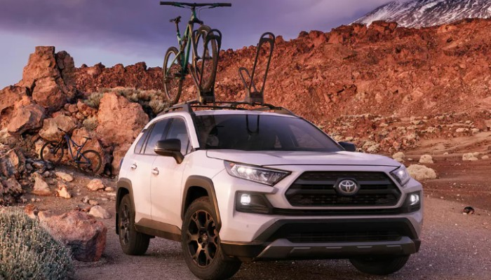 Bike on roof rails of 2020 Toyota RAV4 TRD Off-Road