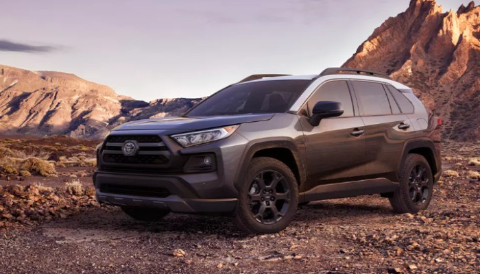Profile view of gray 2020 Toyota RAV4 TRD Off-Road