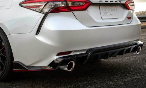 Trunk, bumper and taillights of 2020 Toyota Camry TRD