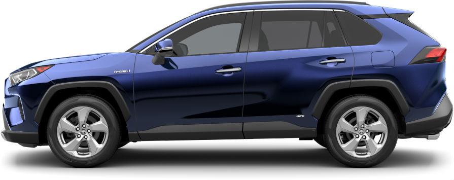 Exterior view of a blue 2020 Toyota RAV4 Hybrid