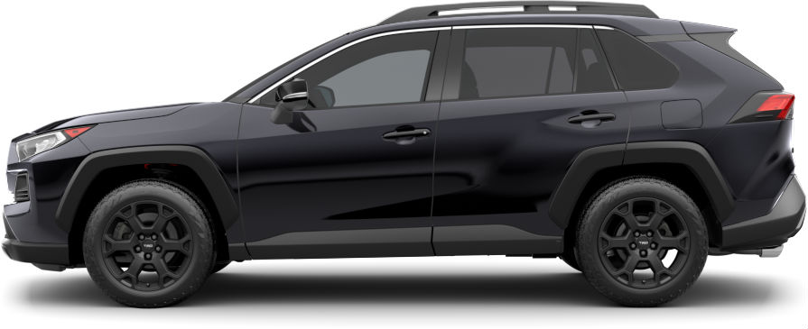 Exterior view of a black 2020 Toyota RAV4 TRD