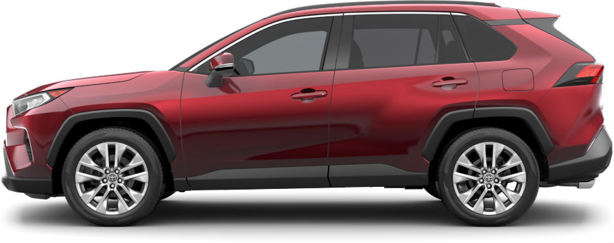 Exterior view of a red 2020 Toyota RAV4