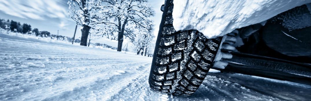 vehicle driving on a winter road