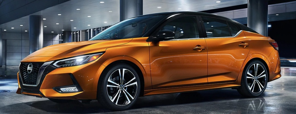 2020 Nissan Sentra orange side view at night