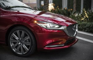 front end of dark red mazda6