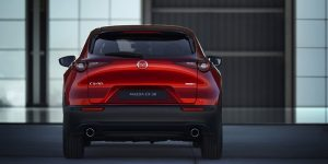 rear view of red mazda cx-30