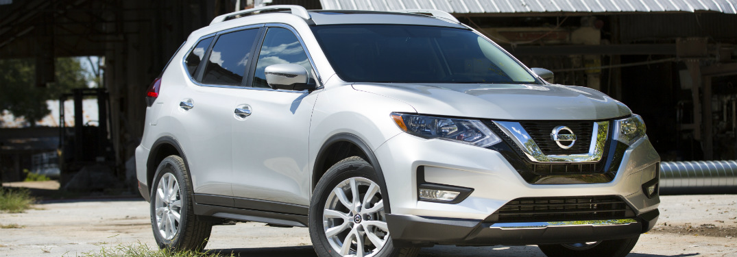front and side view of silver 2018 nissan rogue