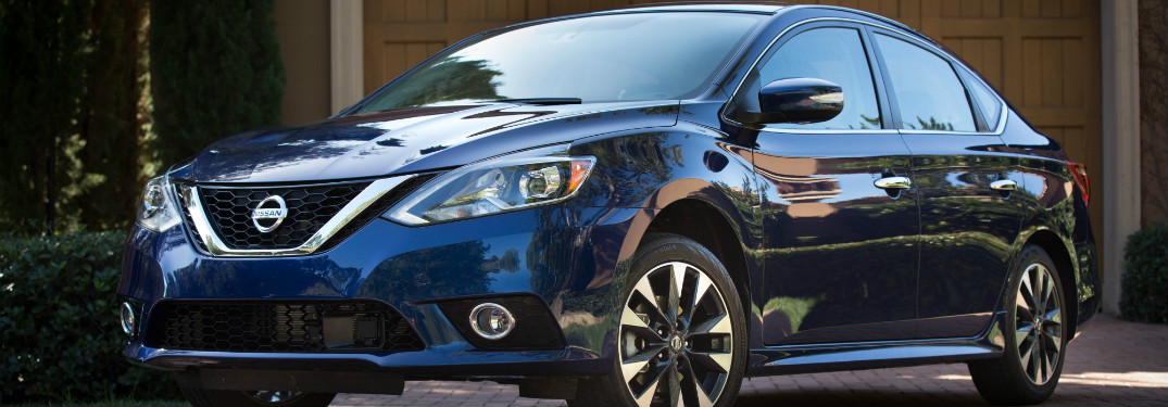 front and side view of blue 2018 nissan sentra