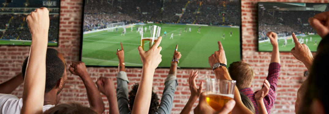 group of people cheering at sports on tv at bar