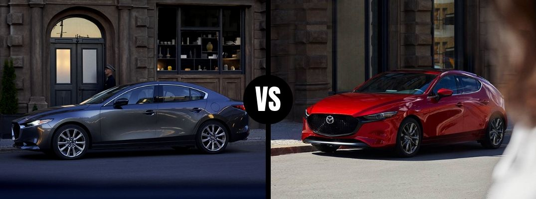 Comparison image of a gray 2019 Mazda3 Sedan and a red 2019 Mazda3 Hatchback