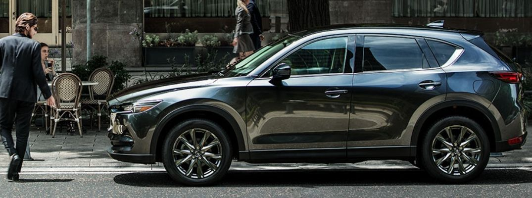 Exterior view of a gray 2019 Mazda CX-5 Signature Diesel