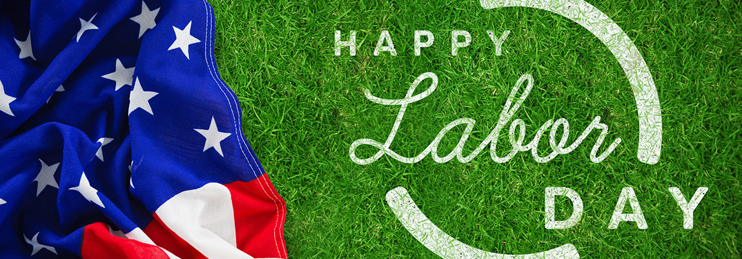 Happy Labor Day banner with the American Flag