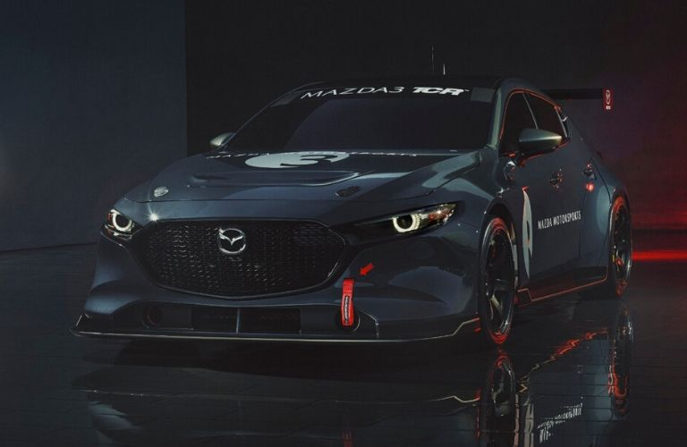 Exterior view of the gray Mazda3 TCR