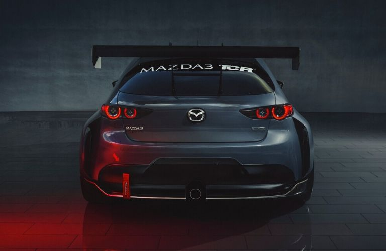 Exterior view of the rear of the gray Mazda3 TCR