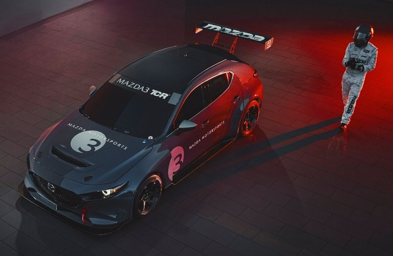 Elevated view of the front of the gray Mazda3 TCR