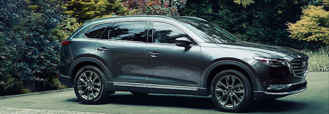 side view of a silver 2020 Mazda CX-9