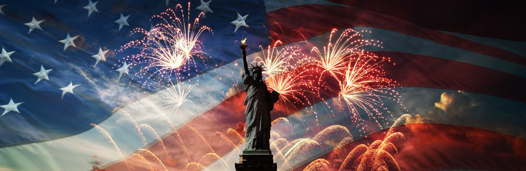american flag with statue of liberty and fireworks in front of it