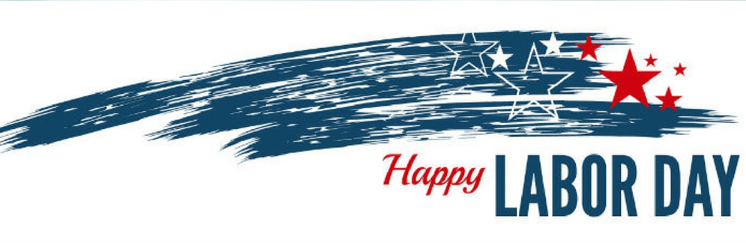 """shooting stars with """"happy labor day"""" text beneath it"""