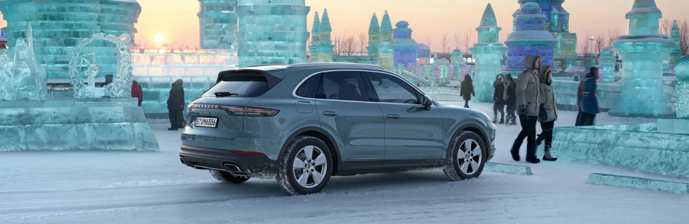 2019 Porsche Cayenne parked in snow