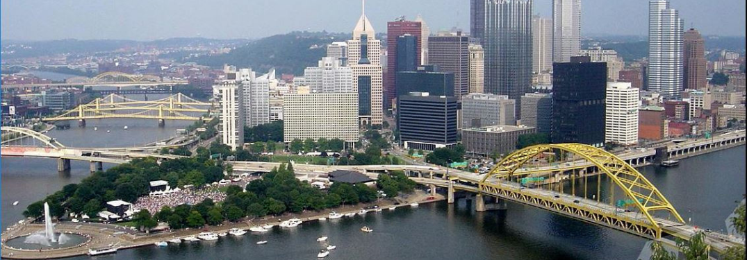 Skyline view of Pittsburgh PA from the shore