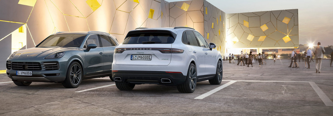 2019 Porsche Cayenne driving on road rear view