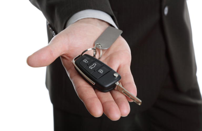 Offering keys to a vehicle to view