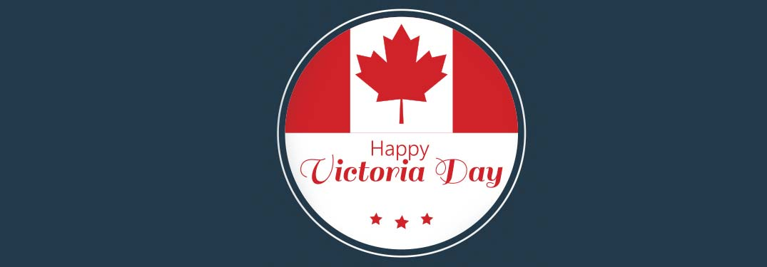 Happy Victoria Day title, a Canadian flag, and a blue background