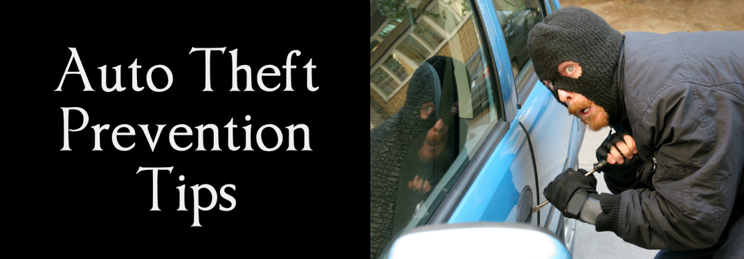 Auto Theft Prevention Tips title and a thief attempting to steal a car