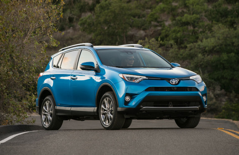 Front view of blue 2018 Toyota RAV4 Hybrid