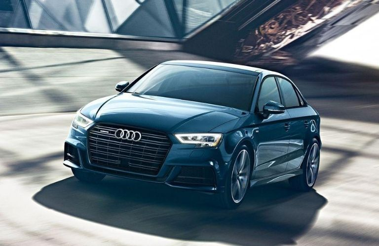 Exterior view of a blue 2020 Audi A3