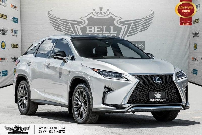 Exterior view of a silver 2016 Lexus RX 350 in the Bell Auto Inc showroom