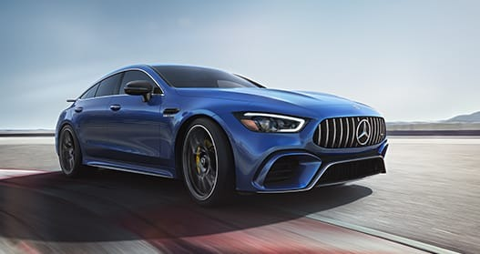 Exterior view of a blue 2020 Mercedes-Benz AMG GT 4-Door Coupe