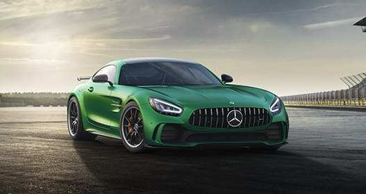 Exterior view of a green 2020 Mercedes-Benz AMG GT Coupe