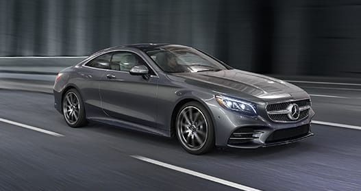 Exterior view of a gray 2020 Mercedes-Benz C-Class Coupe