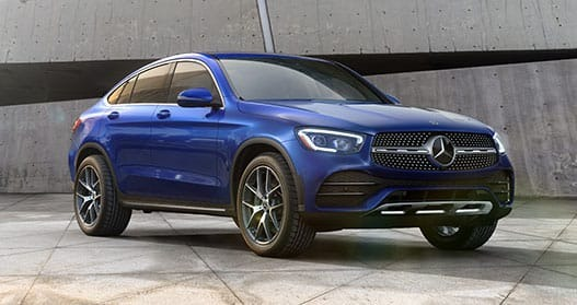 Exterior view of a blue 2020 Mercedes-Benz GLC Coupe