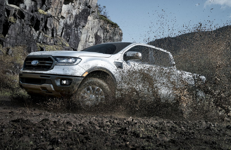 2019 Ford Ranger driving on mud road