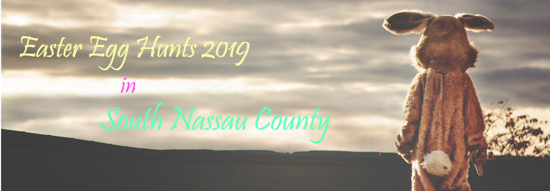 "An disheveled Easter Bunny stares at a distant horizon. Text across a cloudy sky reads, ""Easter Egg Hunts 2019 in South Nassau County."""