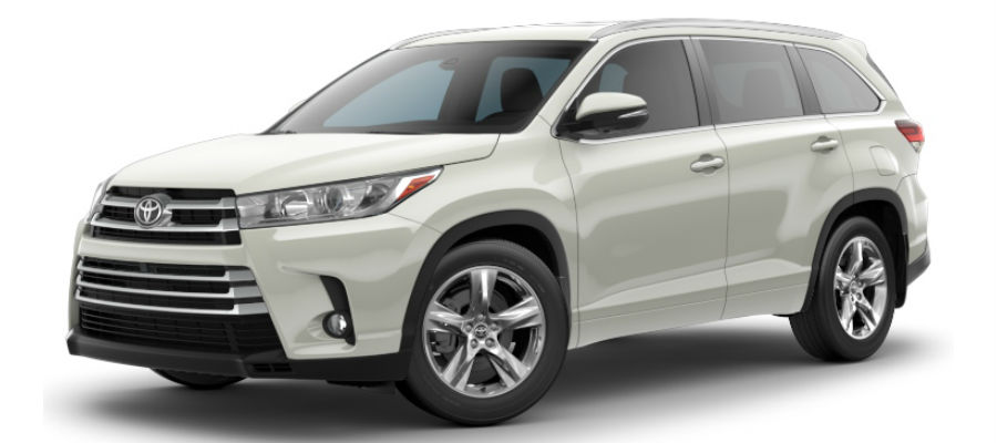 Exterior view of a white 2019 Toyota Highlander Limited