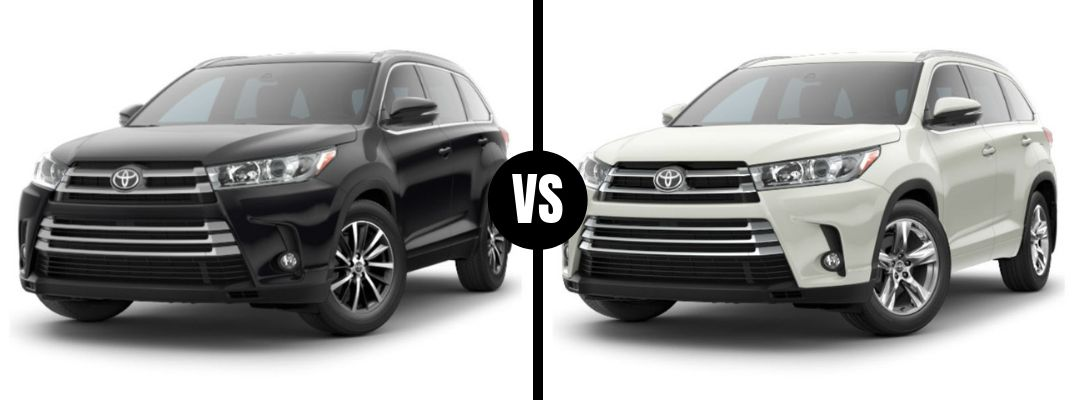Comparison image of a black 2019 Toyota Highlander XLE and a white 2019 Toyota Highlander Limited