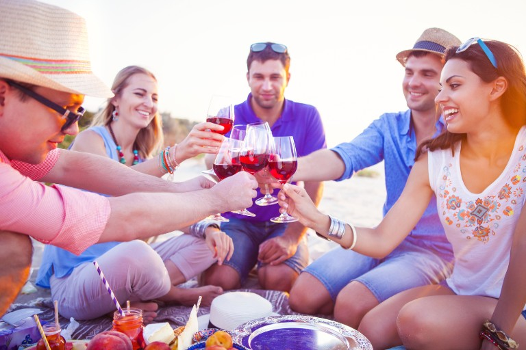 """A group of men and women sitting on the beach together holding wine glasses together and saying """"cheers"""""""