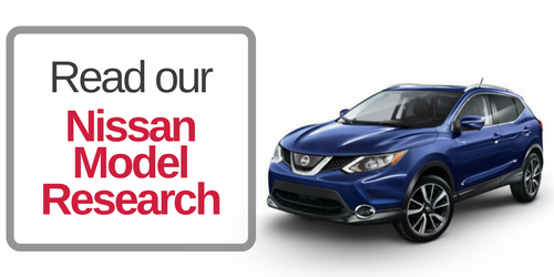 Image of the Nissan Rogue with a button that says Read our Nissan Model Research