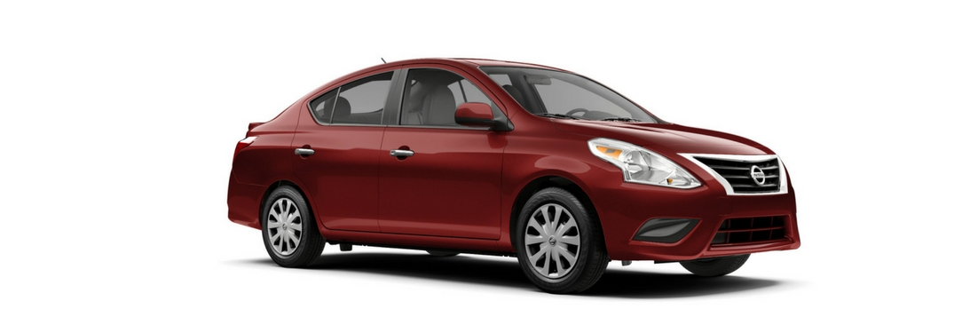 2018 Nissan Versa in Red on a white background