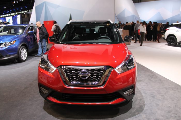 front fascia of the 2019 Nissan Kicks at the 2018 Chicago Auto Show